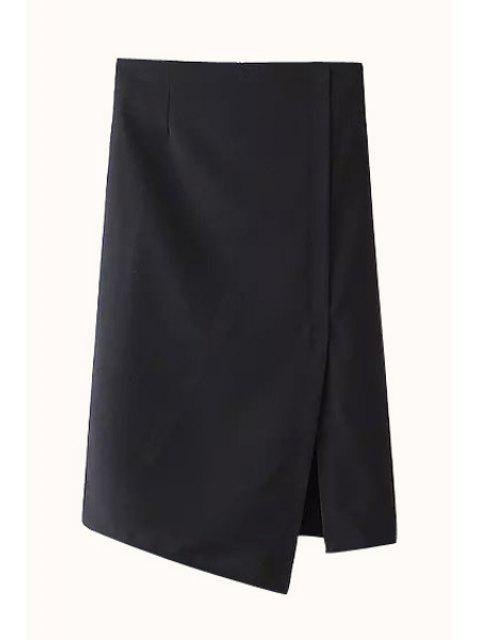 womens Solid Color Straight Side Slit Skirt - BLACK M Mobile