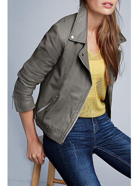 Veste en cuir gris PU à manches longues - Gris L Mobile