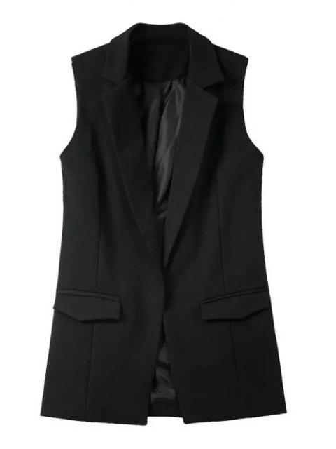 lady Pure Color Lapel Collar Pocket Waistcoat - BLACK M Mobile