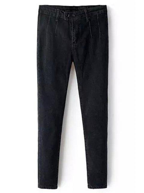 fancy Solid Color Pencil Jeans - BLACK L Mobile