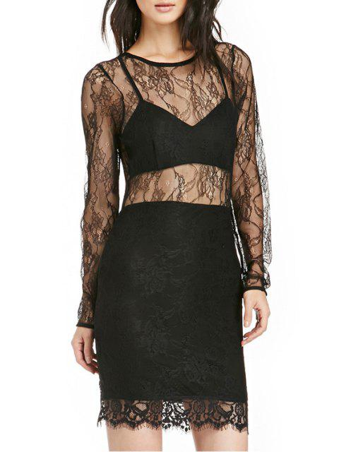 latest See-Through Long Sleeve Dress - BLACK 2XL Mobile