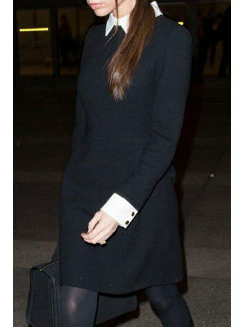 latest Long Sleeve Fit and Flare Dress - BLACK XL Mobile
