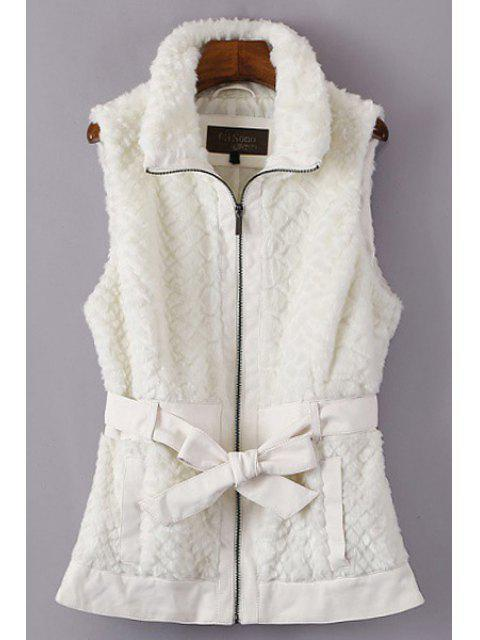 ladies Self-Tie Belt Faux Fur Waistcoat - OFF-WHITE M Mobile
