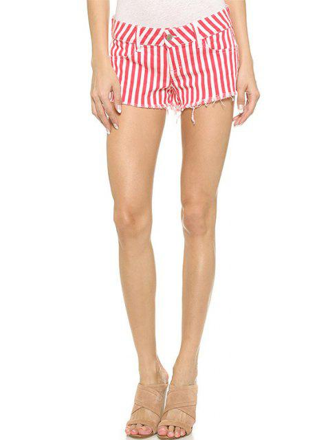 hot Red Striped Straight Leg Shorts - RED WITH WHITE 2XL Mobile