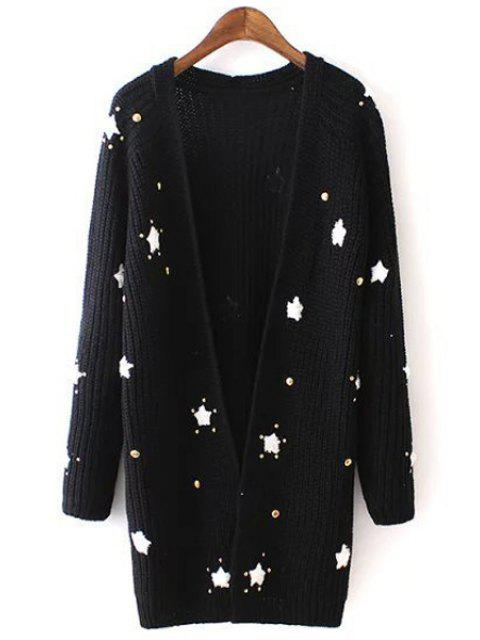 Long Sleeve Star Pattern Long Cardigan - Noir Taille Unique(S'adap Mobile