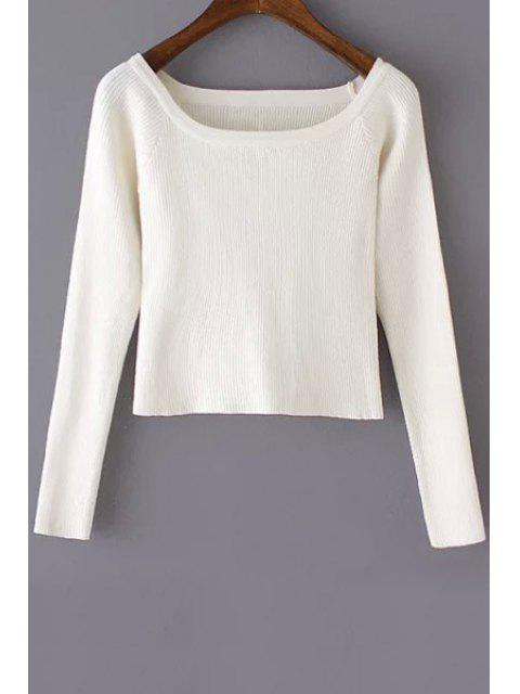 lady Pure Color Scoop Neck Long Sleeve Jumper - WHITE S Mobile