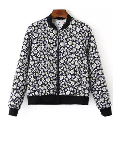 best Tiny Floral Print Baseball Jacket - BLUE S Mobile