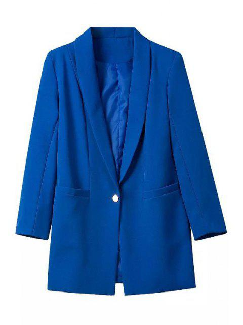 outfit Shawl Neck One Button Blazer - SAPPHIRE BLUE M Mobile