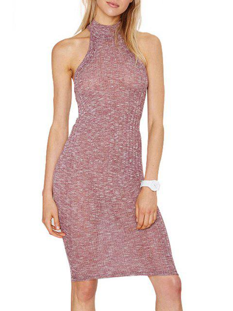 women's Pure Color Stand Neck Sleeveless Sweater Dress - PINK L Mobile