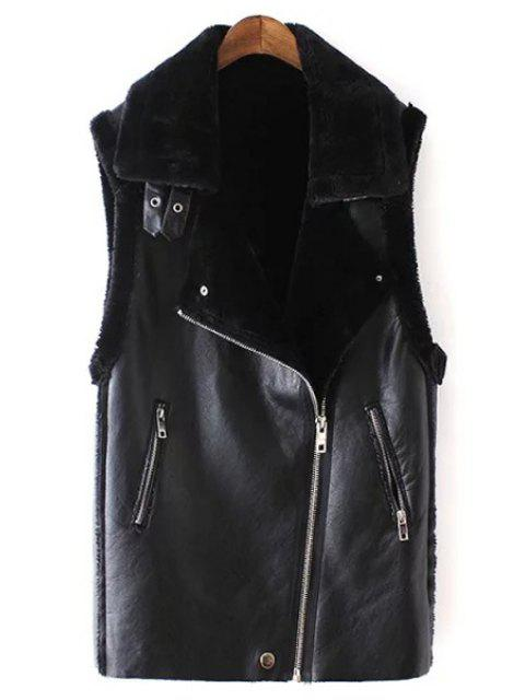 chic Black Turn-Down Collar Faux Fur PU Leather Waistcoat - BLACK M Mobile