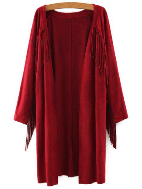 sale Solid Color Collarless Long Sleeves Faux Suede Cardigan - WINE RED M Mobile