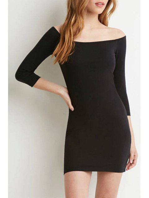 affordable Pure Color Slash Neck 3/4 Sleeve Bodycon Dress - BLACK M Mobile