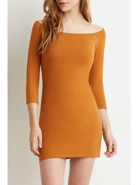 outfits Pure Color Slash Neck 3/4 Sleeve Bodycon Dress - ORANGE M Mobile