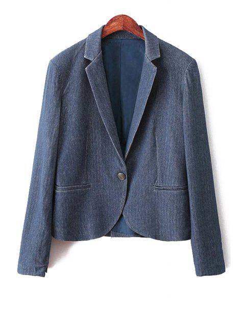unique Blue Denim Lapel Long Sleeve Blazer - BLUE L Mobile