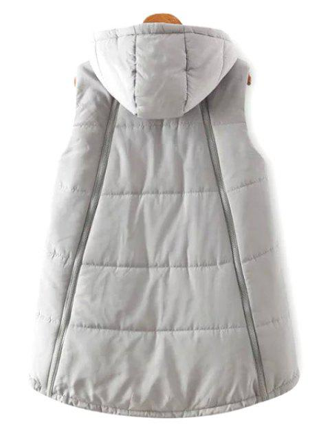 chic Hooded A-Line Thick Waistcoat - GRAY M Mobile
