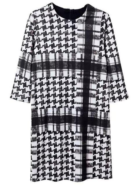 outfit Houndstooth Round Neck 3/4 Sleeve Dress - WHITE AND BLACK L Mobile