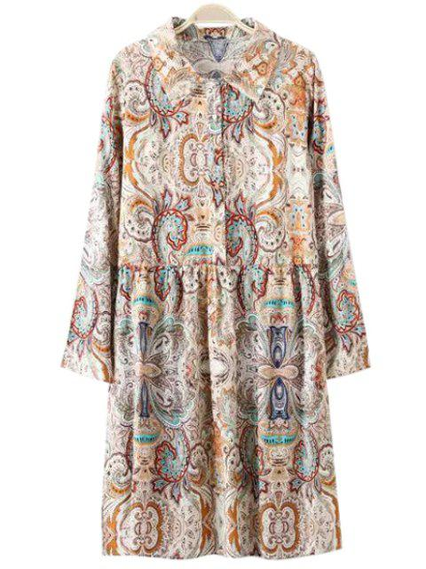 shop Retro Print Turn Down Collar Long Sleeve Dress - COLORMIX M Mobile