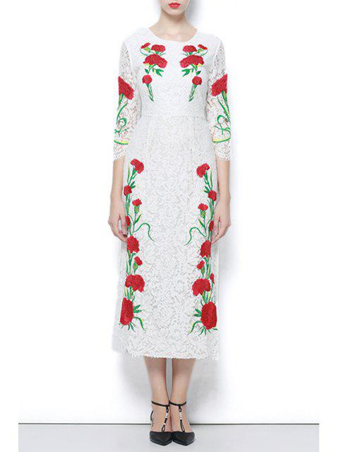fashion 3/4 Sleeve Embroidered Lace Dress - WHITE M Mobile