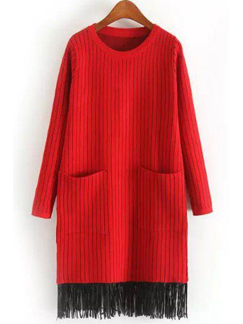 Deux poches Tassels Sweater Dress - Rouge Taille Unique(S'adap Mobile