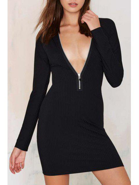 women Plunging Neck Long Sleeves Zipper Solid Color Dress - BLACK 2XL Mobile