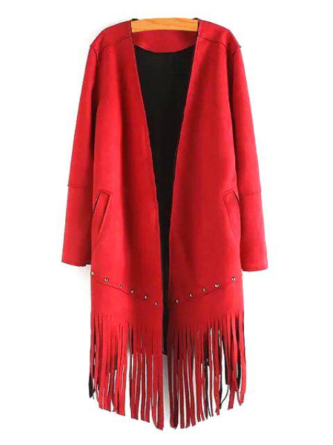 fashion Long Sleeve Tassels Solid Color Coat - RED S Mobile