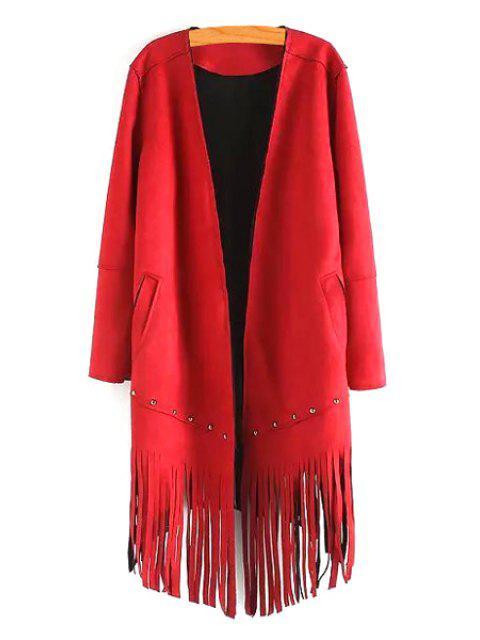 fancy Long Sleeve Tassels Solid Color Coat - RED M Mobile