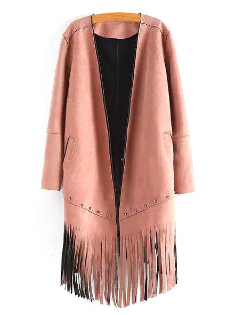 womens Long Sleeve Tassels Solid Color Coat - PINK S Mobile