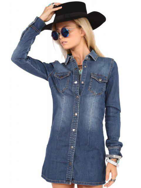 women's Pocket Denim Flat Collar Long Sleeves Shirt Dress - BLUE XS Mobile