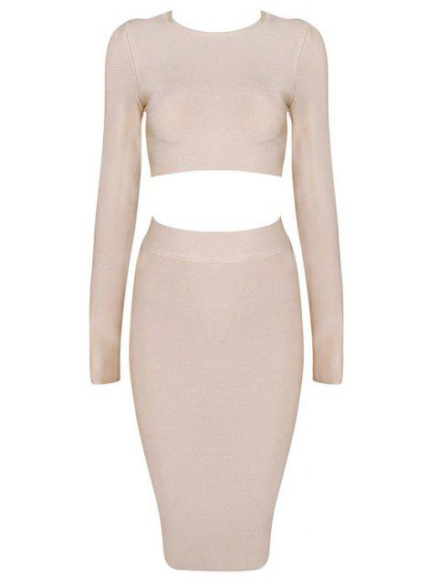 ladies Long Sleeve Crop Top and Bodycon Skirt Suit - NUDE S Mobile