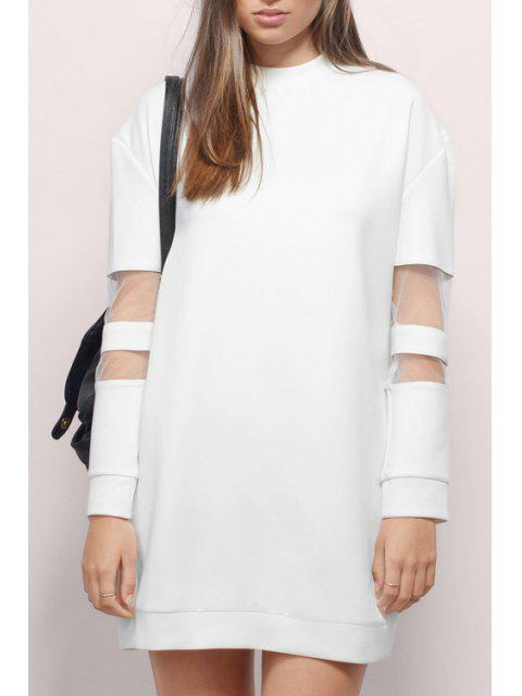 latest Voile Splicing Round Collar Long Sleeves Sweatshirt Dress - WHITE L Mobile