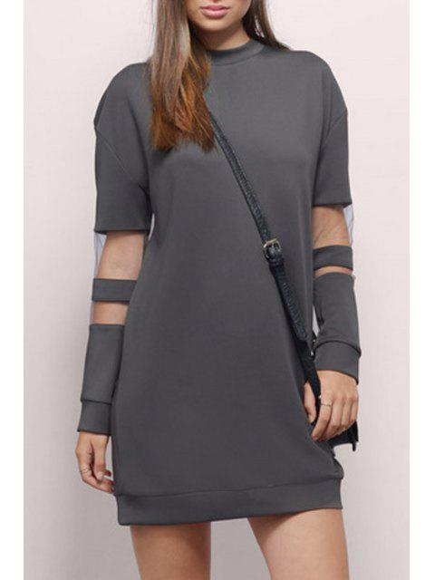 best Voile Splicing Round Collar Long Sleeves Sweatshirt Dress - GRAY 2XL Mobile