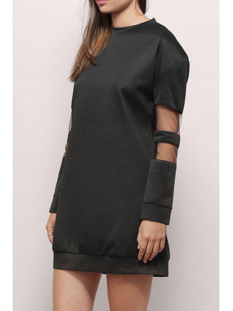 buy Voile Splicing Round Collar Long Sleeves Sweatshirt Dress - BLACK 2XL Mobile