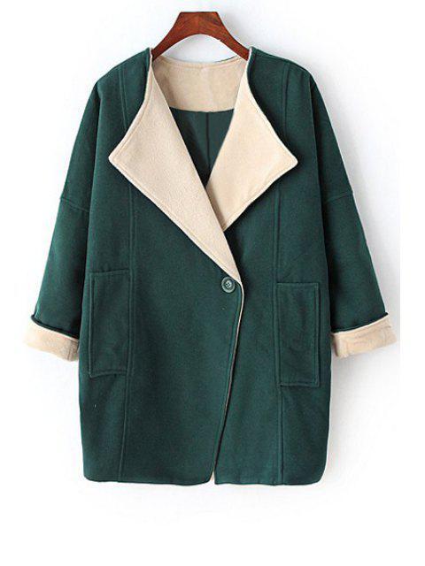 trendy Pure Color Turn-Down Collar Big Pocket Coat - GREEN M Mobile