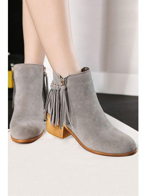 buy Tassel Solid Color Suede Ankle Boots - GRAY 37 Mobile