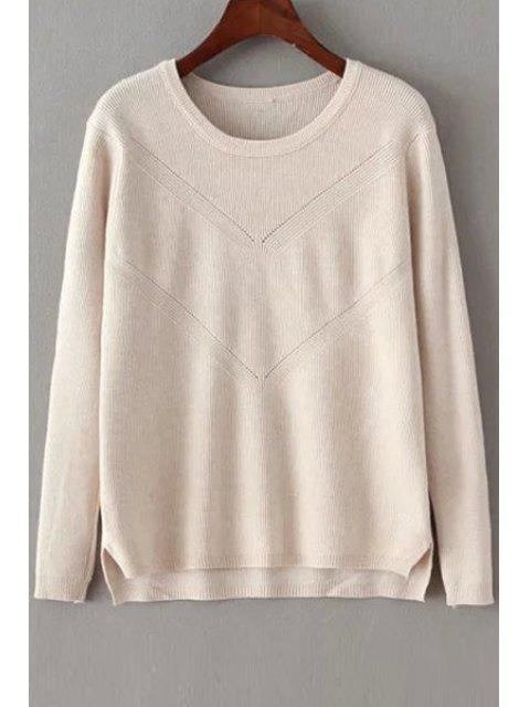 fashion Solid Color Crochet Flower Long Sleeves Pullover Sweater - OFF-WHITE ONE SIZE(FIT SIZE XS TO M) Mobile