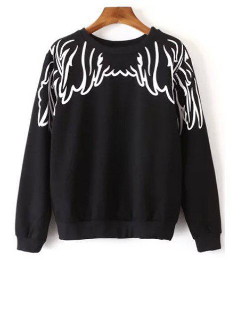 hot Long Sleeve Wing Print Sweatshirt - BLACK M Mobile