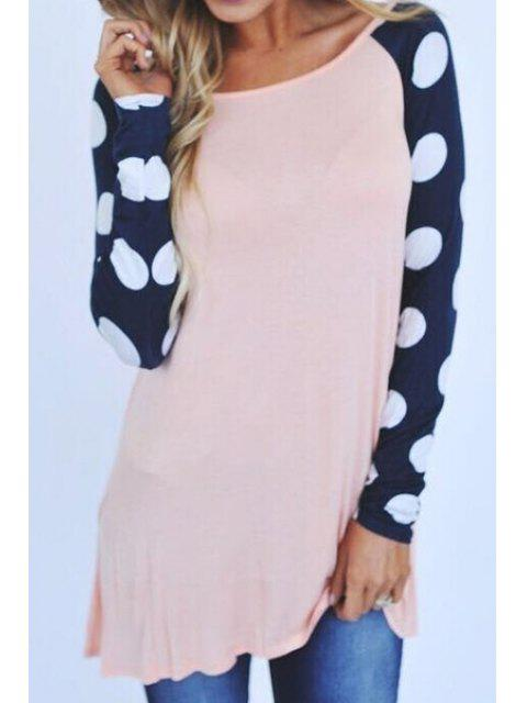 new Polka Dot Splicing Long Sleeve T-Shirt - LIGHT PINK XL Mobile