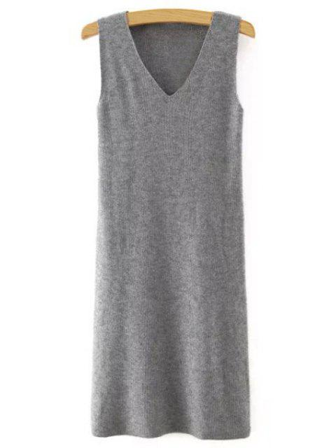 best Sleeveless Pure Color V-Neck Knitted Sweater Dress - GRAY M Mobile