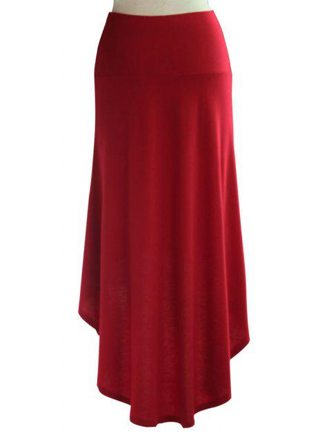 lady Packet Buttocks Solid Color Dovetail Skirt - WINE RED S Mobile