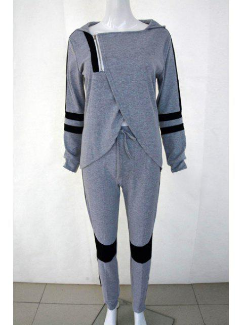 womens Hooded Overlap Sweatshirt + Color Block Pants Suit - GRAY S Mobile