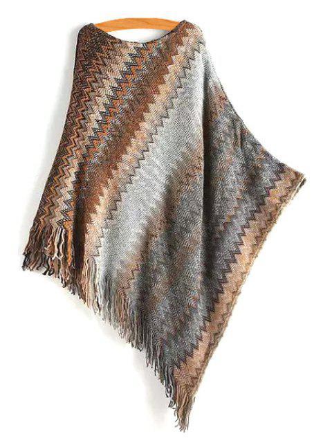 women Zig Zag Tassels Scoop Neck Knit Cape - GRAY M Mobile