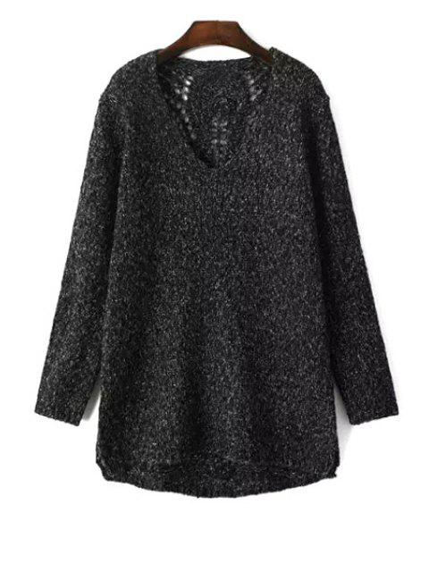 women's V Neck Long Sleeve Openwork Jumper - BLACK ONE SIZE(FIT SIZE XS TO M) Mobile