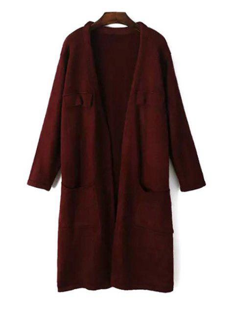 shops Pure Color Open Front Longline Cardigan - WINE RED ONE SIZE(FIT SIZE XS TO M) Mobile