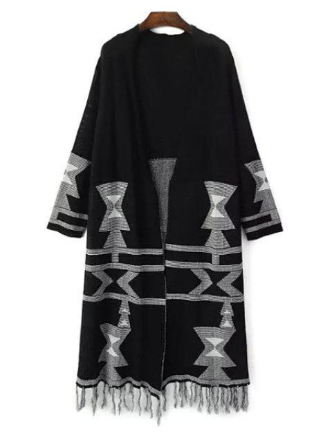 unique Tassels Jacquard Longline Cardigan - BLACK ONE SIZE(FIT SIZE XS TO M) Mobile