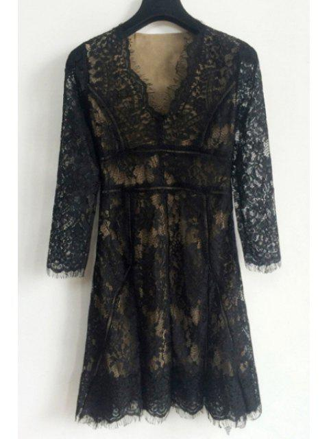 fancy Lace Spliced Plunging Neck Long Sleeves Pure Color Dress - BLACK M Mobile