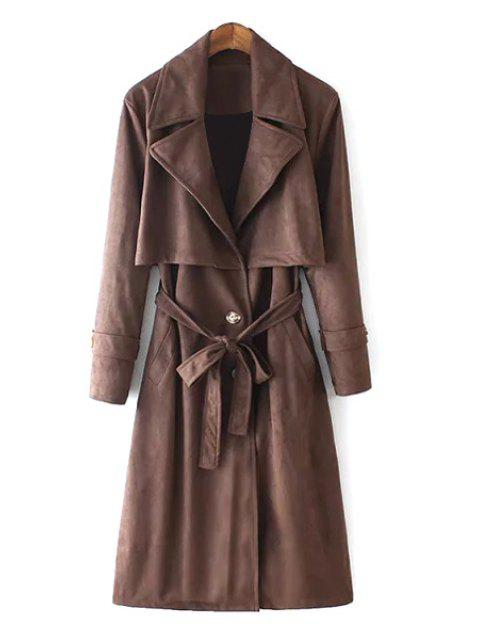 online Lapel Self-Tie Belt Suede Trench Coat - DUN S Mobile
