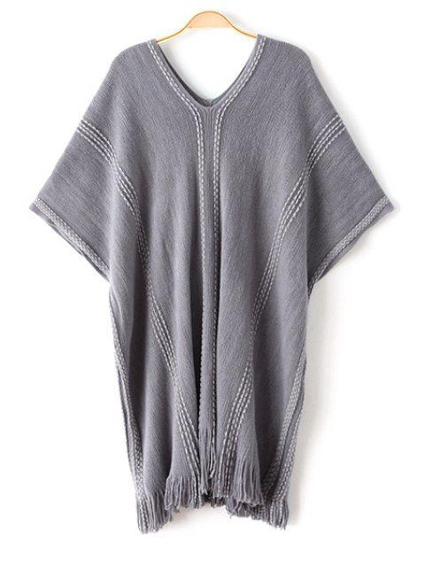 affordable Batwing Sleeve Loose Fringed Sweater - GRAY ONE SIZE(FIT SIZE XS TO M) Mobile