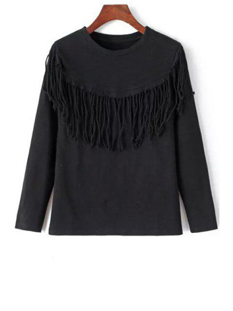 online Tassels Round Neck Long Sleeve T-Shirt - BLACK M Mobile