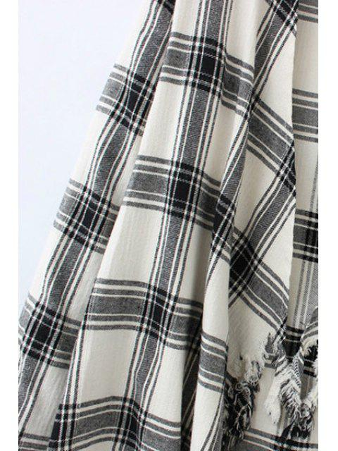 chic Plaid Print Long Sleeve Blouse - WHITE AND BLACK XL Mobile