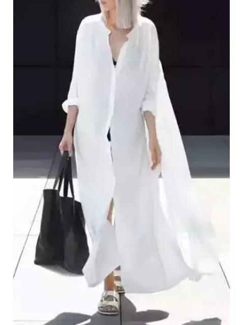 shop White Stand Collar Long Sleeves Shirt Dress - WHITE S Mobile